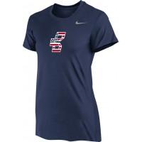 Bat Company 12: Nike Women's Legend Short-Sleeve Training Top - Navy Blue