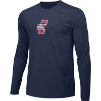 Bat Company 16: Adult-Size - Nike Team Legend Long-Sleeve Crew T-Shirt - Navy Blue